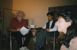 Alexander, Xavier y Carmen en la antigua sede de La Liebre